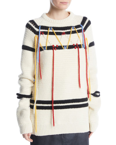 Crewneck Floating Yarn Striped Wool Knit Sweater
