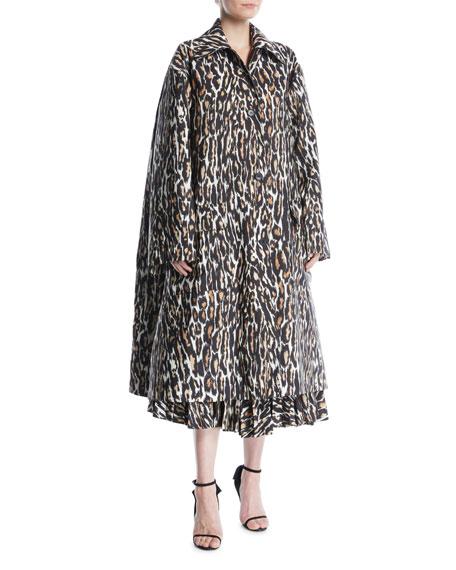 CALVIN KLEIN 205W39NYC Oversized Leopard-Print Faille Swing Midi Coat
