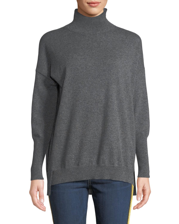 Eternals 12-GG Cashmere Geo-Slit Dropped-Shoulder Turtleneck Sweater