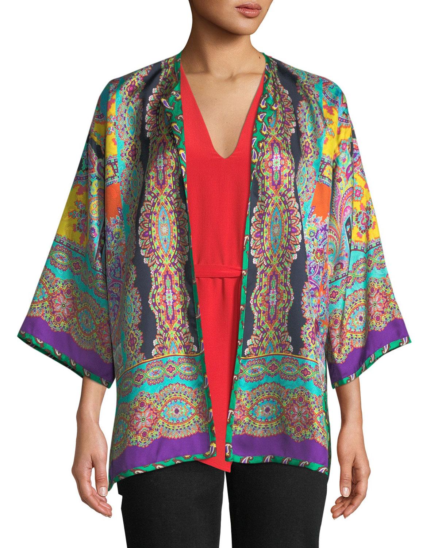 Reversible Mixed-Print Silk Kimono Jacket