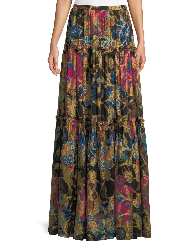 Mixed-Print Long Tiered Silk Skirt