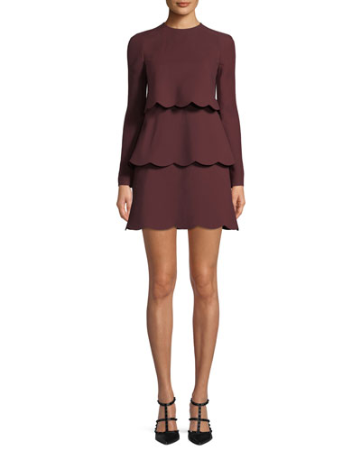 Crepe Couture Long-Sleeve Scallop Tiered Dress
