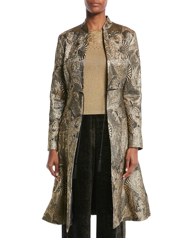 Tie-Front Metallic-Jacquard Topper Coat