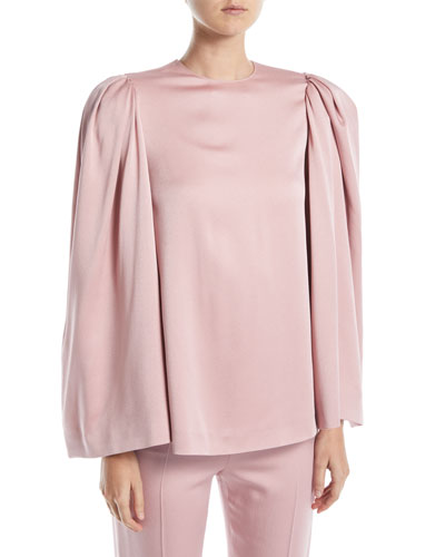 Long Bell-Sleeve Jewel-Neck Cady Blouse