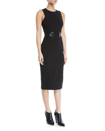 Sleeveless Jewel-Neck Boucle Crepe Midi Sheath Dress with Belt