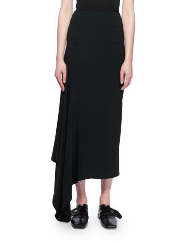 Asymmetric-Hem A-Line Calf-Length Crepe Skirt