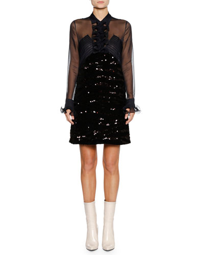 Long-Sleeve Ruffle-Placket Sequin Beaded A-line Cocktail Dress