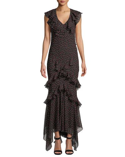 c45dfde9ba Quick Look. Michael Kors Collection · Mock-Neck Long-Sleeve Rose-Print Bias- Ruffle Silk Chiffon Long Dress