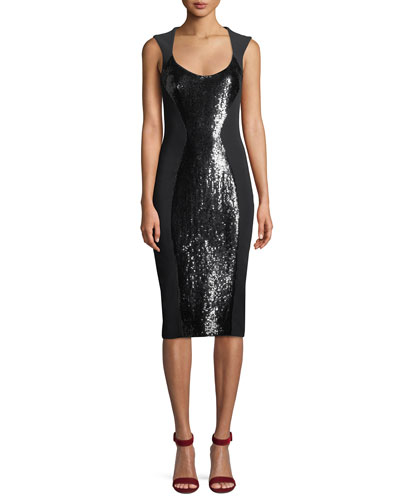 Scoop-Neck Sequin Stretch-Cady Sheath Dress