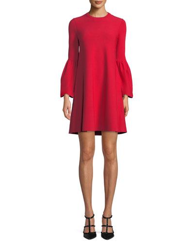 Jewel-Neck Bell-Sleeve Stretch-Knit Mini Dress