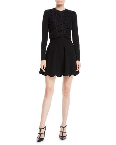 Long-Sleeve Stretch-Viscose Mini Knit Dress w/ Heavy Lace Top