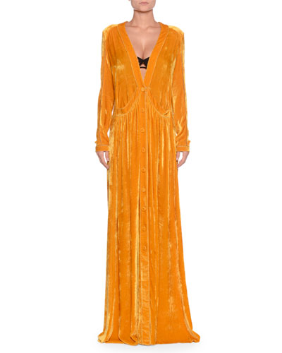 Deep-V Button-Front Long-Sleeve Draped Velvet Long Dress w/ Self Belt