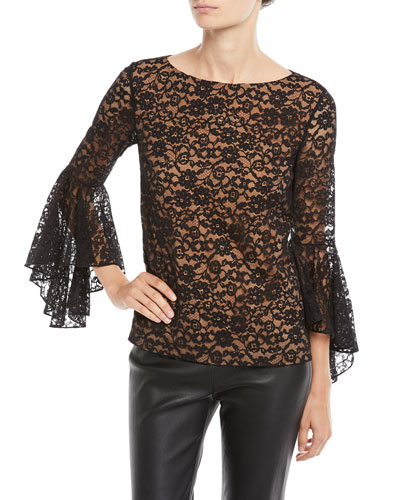 Round-Neck Bell-Sleeve Floral-Lace Top