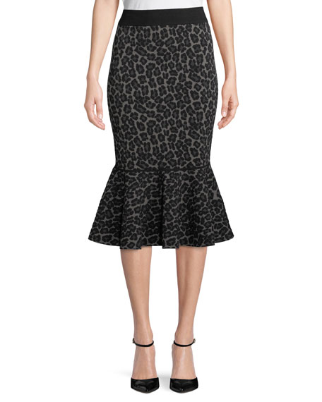 Michael Kors Collection Leopard-Print Pencil Peplum Midi Skirt