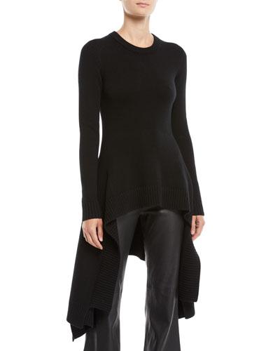 Crewneck Long-Sleeve Handkerchief-Hem Pullover Cashmere Sweater