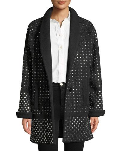 Amandine Two-Button Flat Silvertone-Studs Wool-Cashmere Oversized Coat