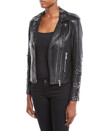 53dbcb78ad0e Quick Look. Nour Hammour · Oceane Zip-Front Lambskin Leather Jacket ...