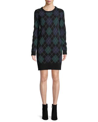 Crewneck Long-Sleeve Argyle Cashmere Sweater  Dress