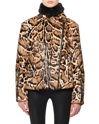 High-Collar Two-Pocket Ocelot-Print Fur Puffer Coat