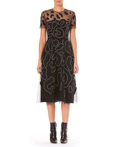 Jewel-Neck Short-Sleeve Leopard-Embroidered Cocktail Dress