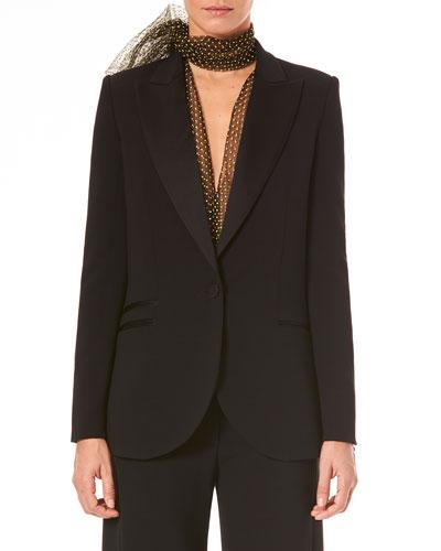 Single-Breasted Wool Tuxedo Jacket