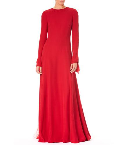 Jewel-Neck V-Back Long-Sleeve A-Line Silk Evening Gown