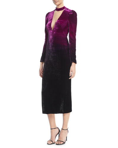 Deep-V Long-Sleeve Ombre Velvet Cocktail Dress
