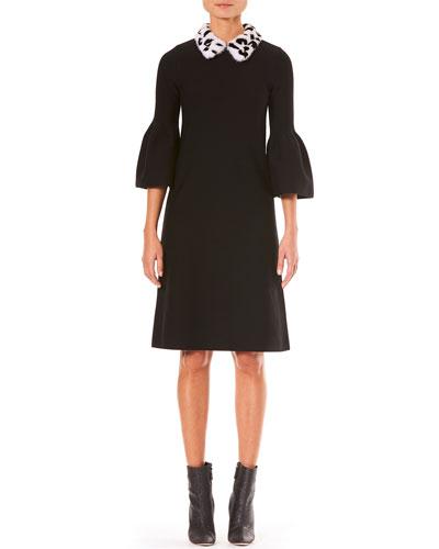 Bell-Sleeve A-Line Stretch-Wool Knit Dress w/ Fur Collar