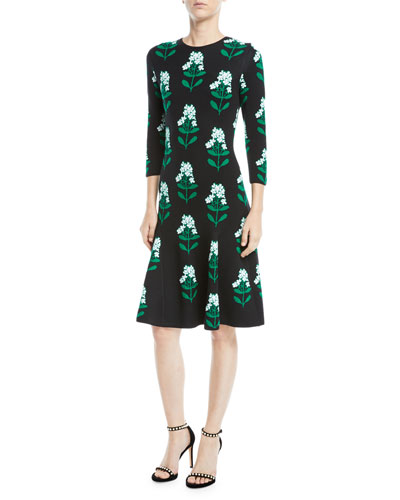 Floral Jacquard Long-Sleeve Dress