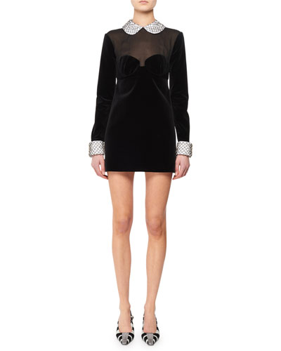 5f182f5ca Velvet Collar Dress | Neiman Marcus