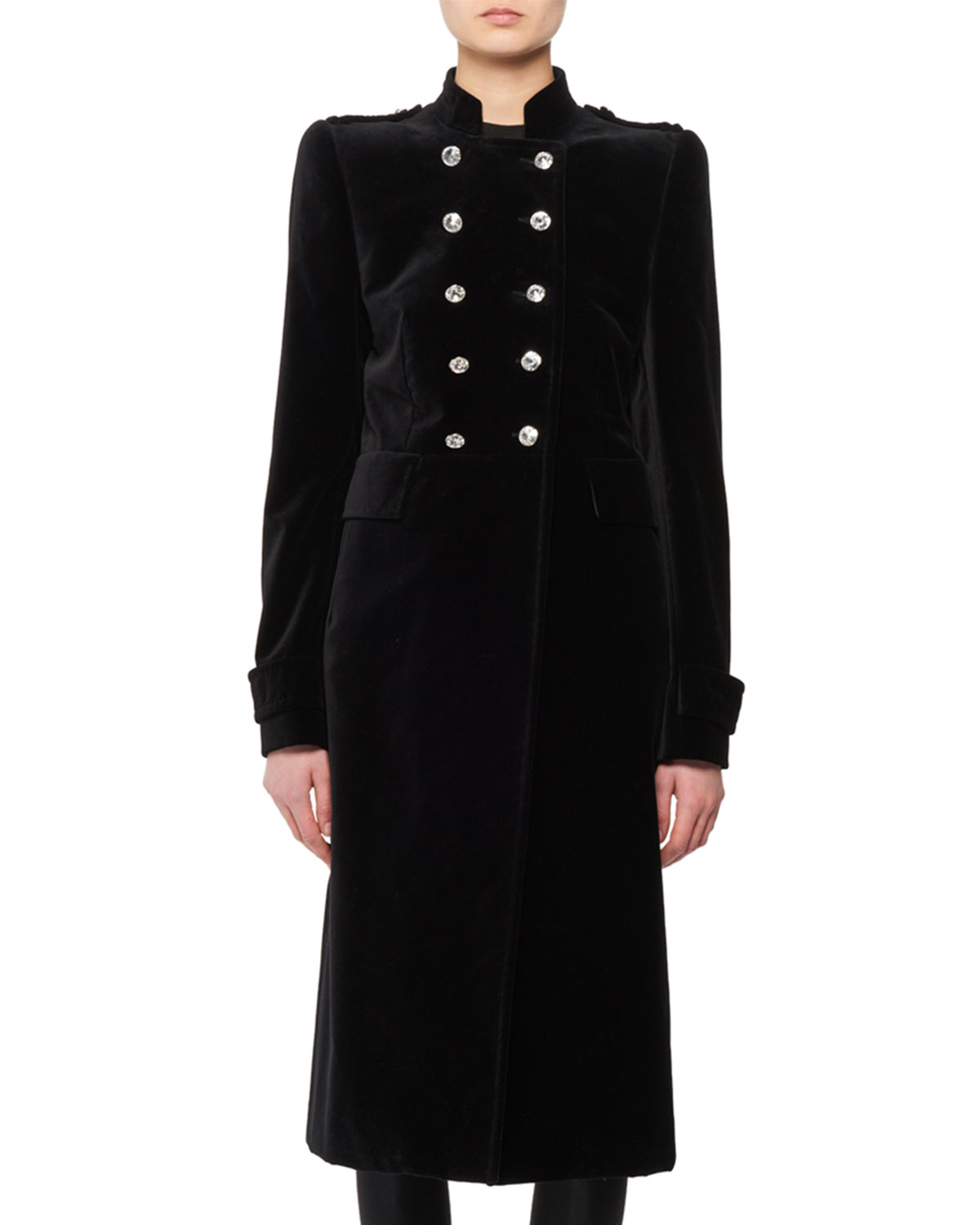Double-Breasted Stand-Collar Velvet Military Coat in Black
