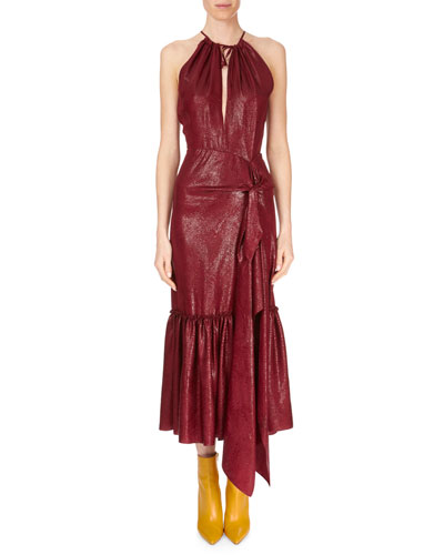 Miranda Tie-Front Ankle-Length Halter Dress w/ Flounce Hem