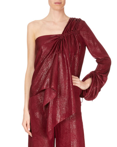 One-Sleeve Metallic Draped Blouse