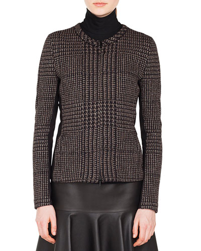 Zip-Front Metallic Jacquard Houndstooth Jacket
