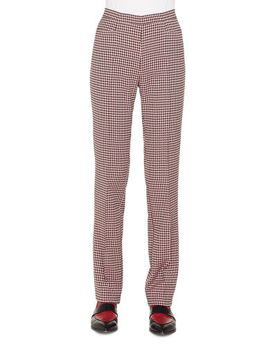 Francoise Straight-Leg Side-Zip Houndstooth Jersey Pants