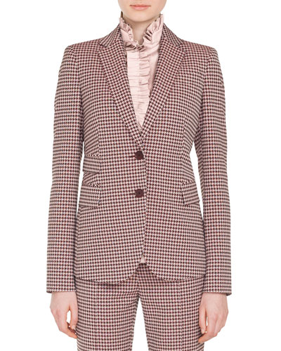 Two-Button Houndstooth Jersey Blazer
