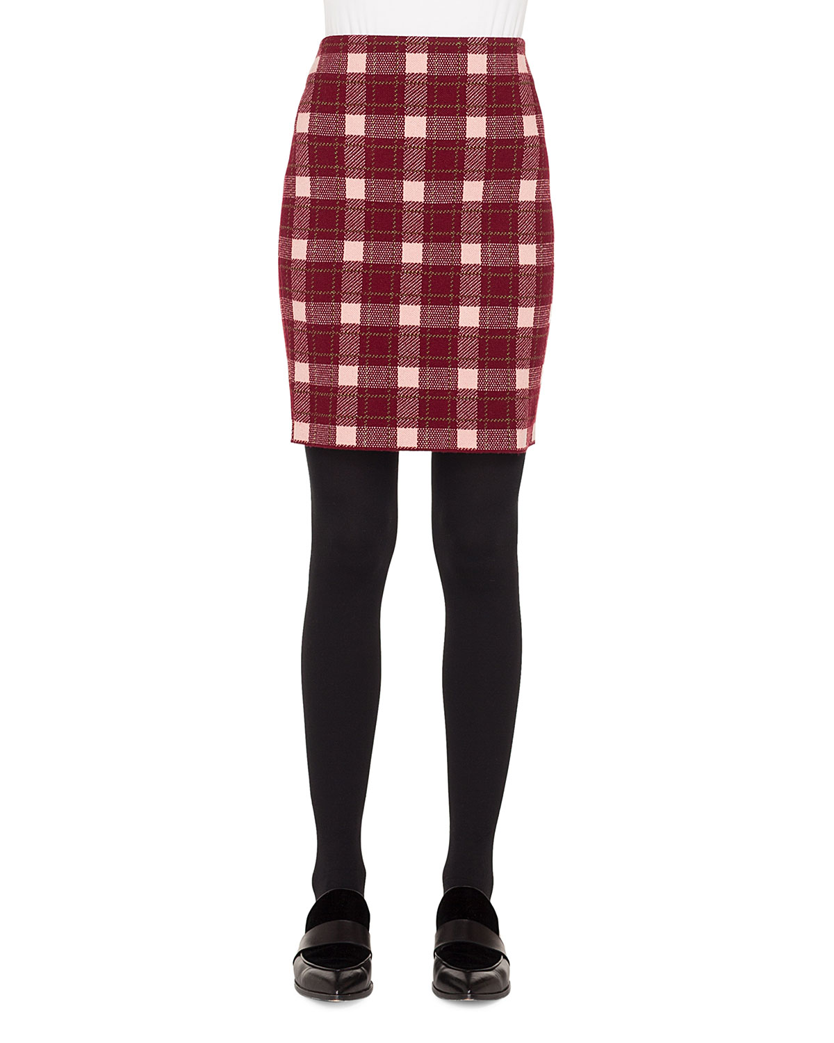 Brit-Check Pencil Knee-Length Wool/Cashmere Skirt in Multi Pattern