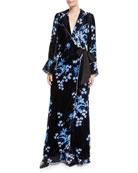Johanna Ortiz New Sunrise Floral-Print Velvet Kimono Coat