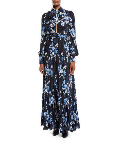 Printed Silk Gown Neiman Marcus