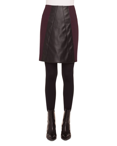 Short Napa Leather/Jersey A-Line Skirt