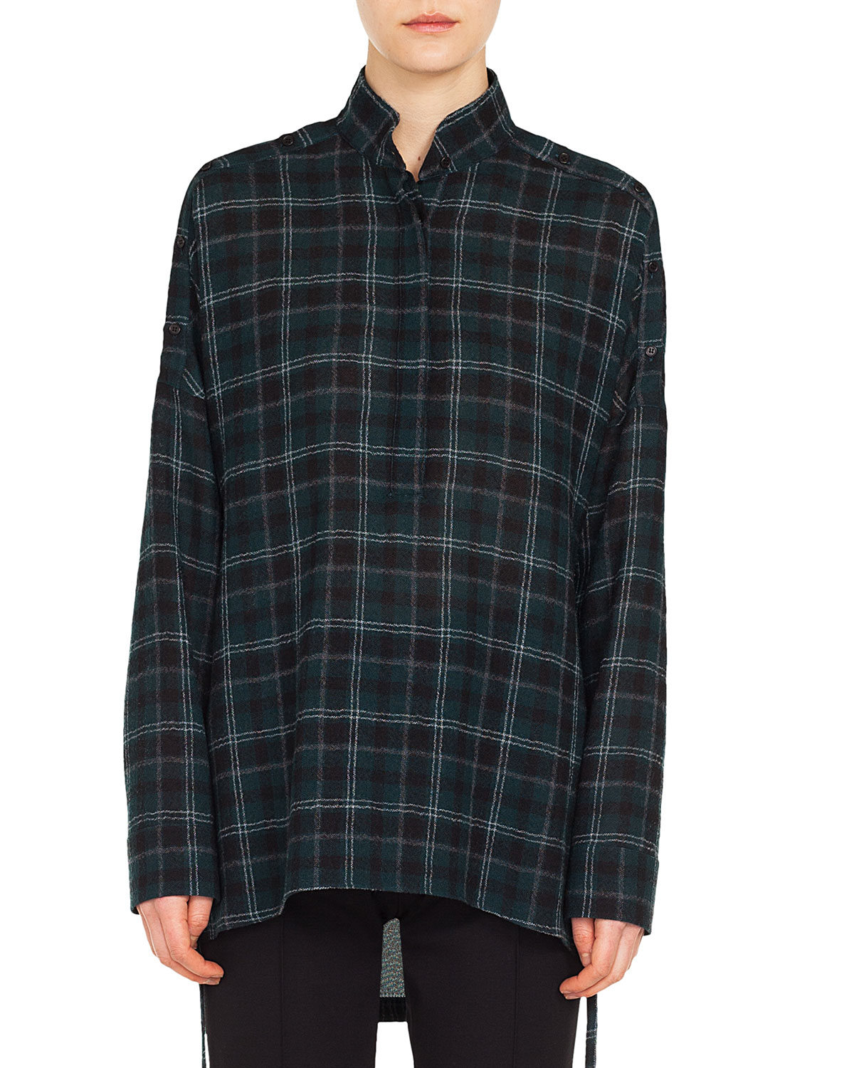 Button-Front Long-Sleeve Brit-Check Wool Blouse in Dark Green