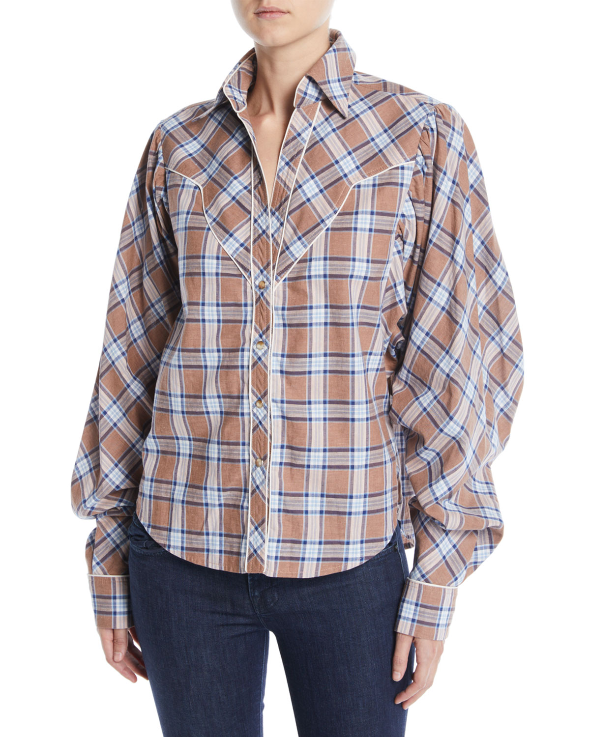 Dance of the Deer Bubble-Sleeve Tartan Shirt w/ Western Piping