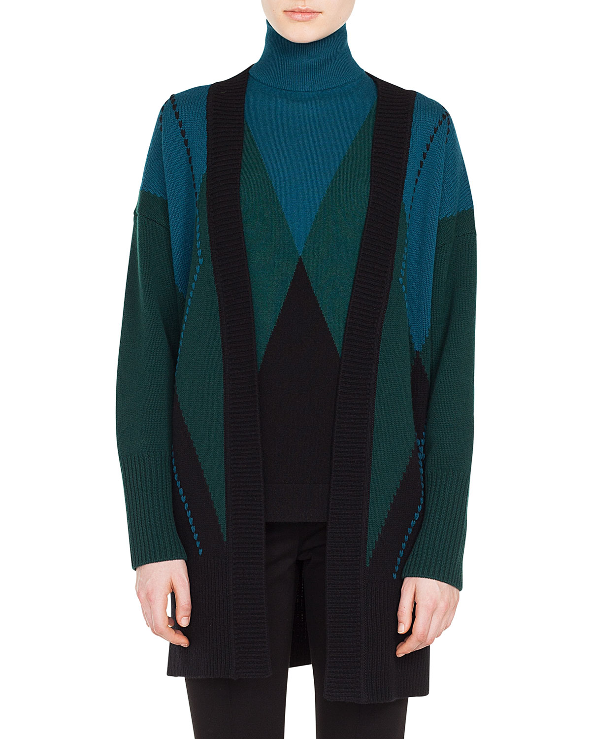 Open-Front Argyle Wool-Cashmere Cardigan, Multi Pattern