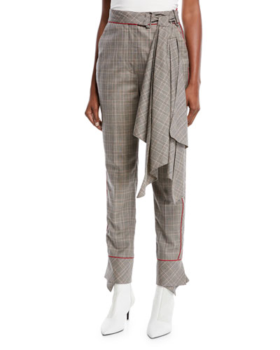 Aesthetic Grunge Scarf-Belt Skinny Plaid Suiting Trousers
