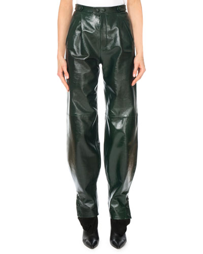 High-Waist Snap-Cuff Lamb Leather Trousers