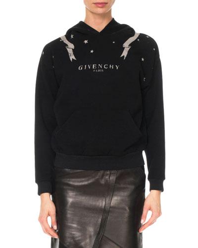 Gemini-Print Long-Sleeve Cotton Hooded Sweatshirt