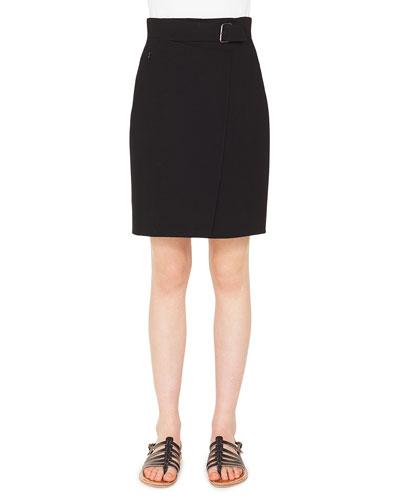 A-Line Wool Crepe Mini Skirt