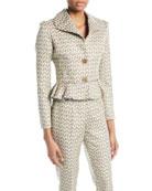 Brock Collection Jada Two-Button Floral-Jacquard Short Jacket