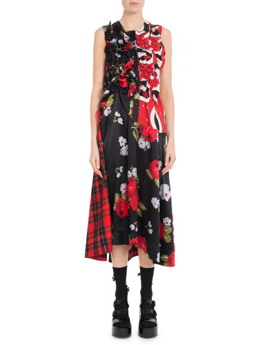 Sleeveless A-Line Ruched Floral-Print & Plaid Tartan Dress