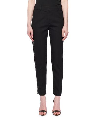 Flat-Fly Slim Tapered-Leg Wool-Blend Pants w/ Beaded Tux Stripe